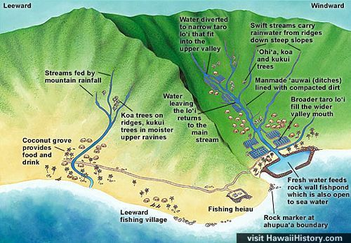 illustration of Oahu and Ahupuaa Koolau Watershed